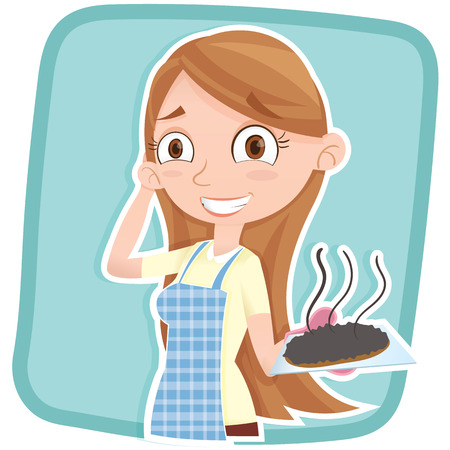 cartoon accident: cartoon woman showing her burnt cake