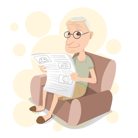old newspaper: cartoon old man sitting on sofa and reading a newspaper
