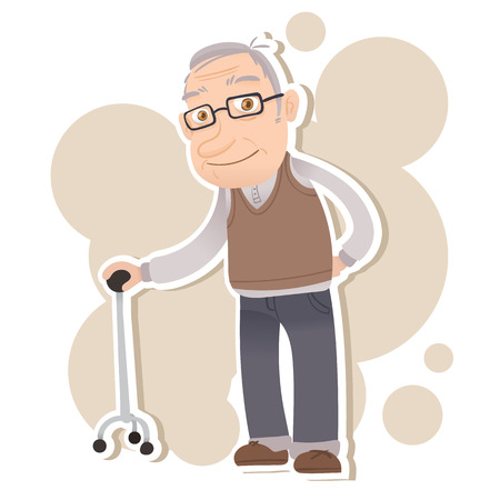cartoon old man stand with cane and smiling Çizim