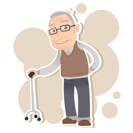 cartoon oude man staan met riet en glimlachend