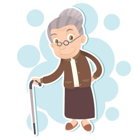 cartoon oude vrouw staan met riet en glimlachend