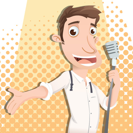 entertainer: cartoon man singing with microphone