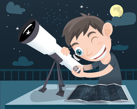 niño de dibujos animados usando el telescopio y el mapa del cielo Ilustración de vector
