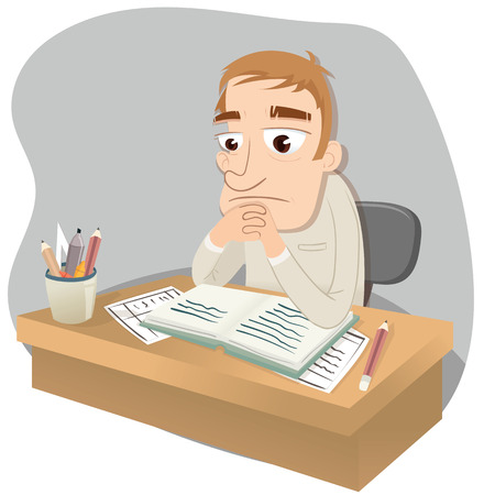 cartoon work: cartoon depressed man on working desk