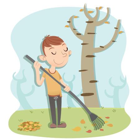 sweeping: cartoon man sweeping leaves on autumn Illustration