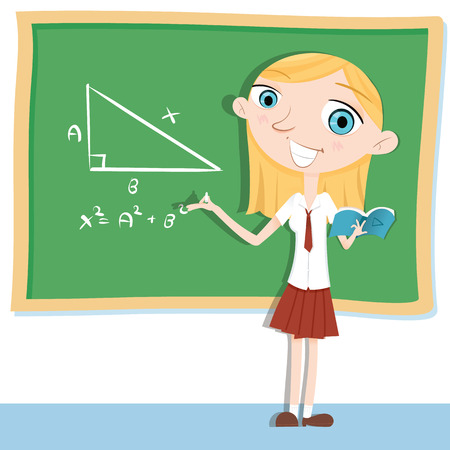 school girl uniform: cartoon young student in school uniform standing in front of chalkboard and doing math