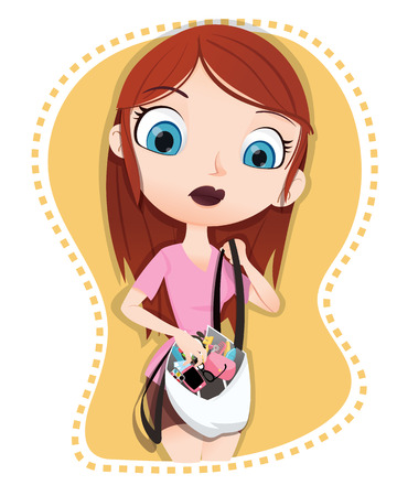 messy: cartoon girl find something in her messy bag.