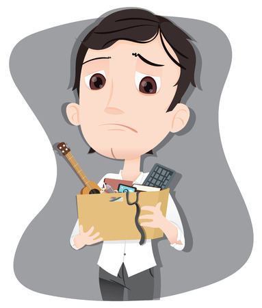 cartoon businessman got fired carrying box with personal stuff