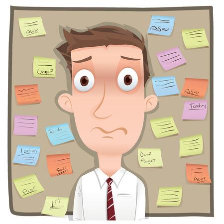 sticky note: Cartoon businessman with sticky note.