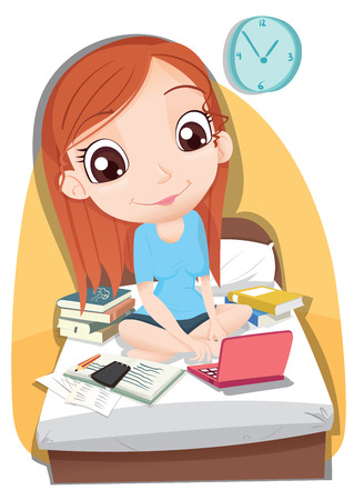 adolescent: Cartoon smiling girl work on bed.