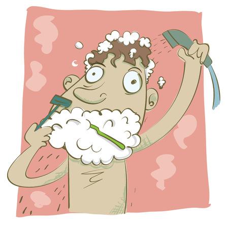 Cartoon man haasten in de ochtend scheren en douche op hetzelfde moment.
