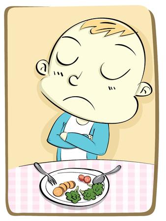 disgust: cartoon kid refusing to eat vegetable.