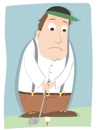cartone animato nervoso giocatore di golf maschile