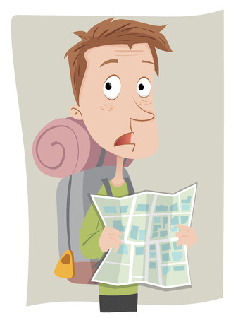 issue: cartoon confused backpacker tourist holding map