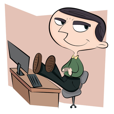 arrogant: cartoon arrogant businessman with legs on working desk