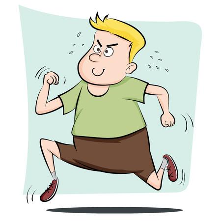 漫画男のデブ男は、重量を失うを実行しています。