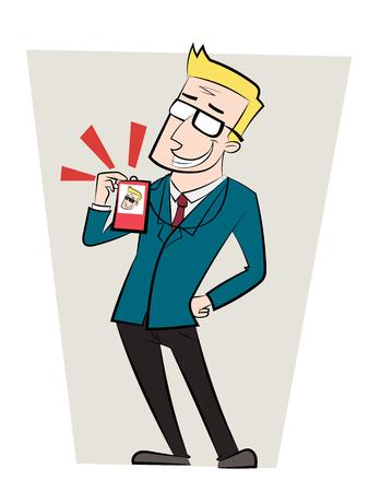 漫画の男が彼の従業員カードを示す彼の仕事に誇り。