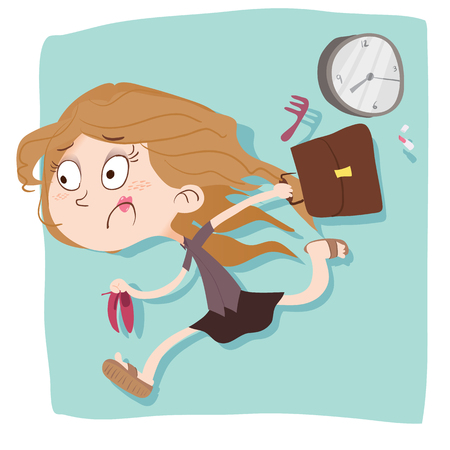 de dibujos animados mujer prisa tarde al trabajo.