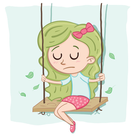 漫画孤独な少女が一人でブランコに座って。