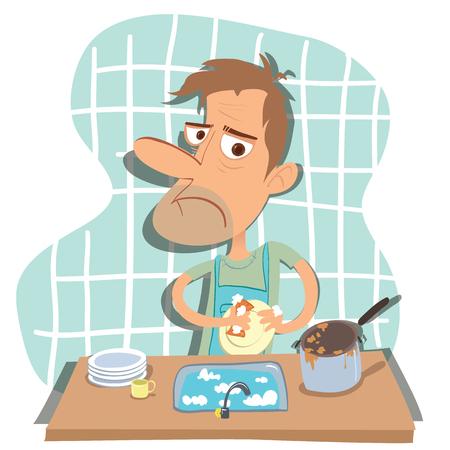 漫画家の夫洗濯料理キッチンで  イラスト・ベクター素材