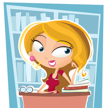 librarian: cartoon librarian sitting on working desk at the library.