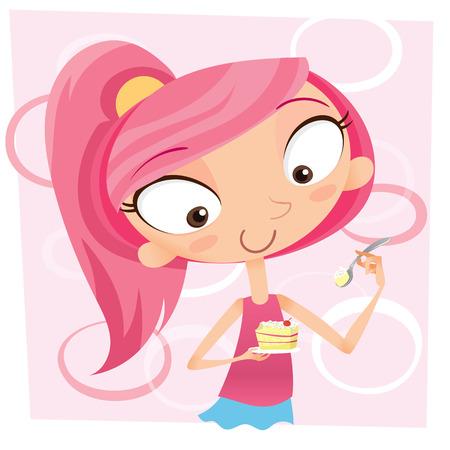 カップケーキを持って笑顔の少女を漫画します。