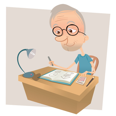 erudite: cartoon old man doing math