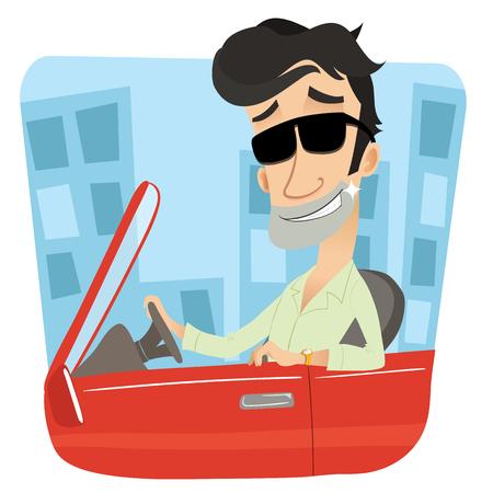 rich man: cartoon rich man driving sports car.