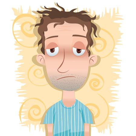 漫画だけ、ボサボサ髪の男に目が覚めた。  イラスト・ベクター素材