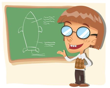 漫画オタクの子供が彼の発明のプランを提示します。