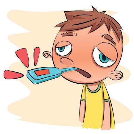sick boy: cartoon sick boy with thermometer. Illustration