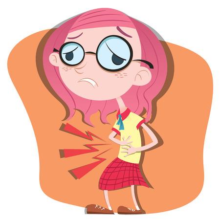 cartoon girl having a stomach ache.