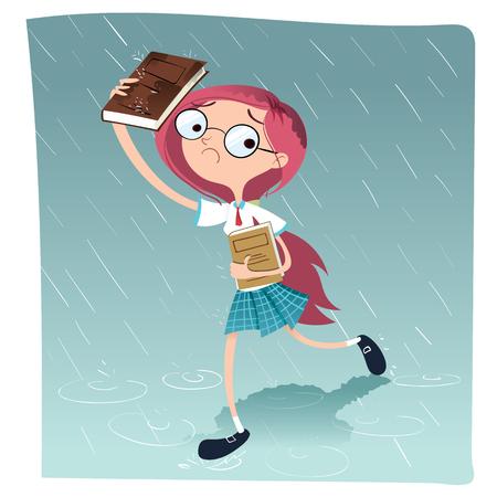 schoolgirls: cartoon schoolgirl walking in the rain.