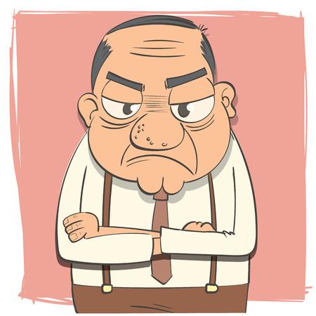 arms folded: Cartoon arms folded scowl boss. Illustration