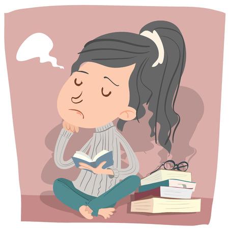 cartoon girl in bored mood reading book.