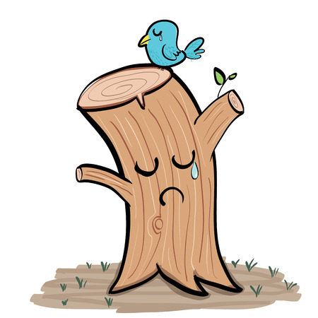 plants and trees: cartoon crying tree stump and crying bird.