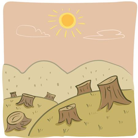 deforestacion: ilustración de la deforestación en estilo de dibujos animados.