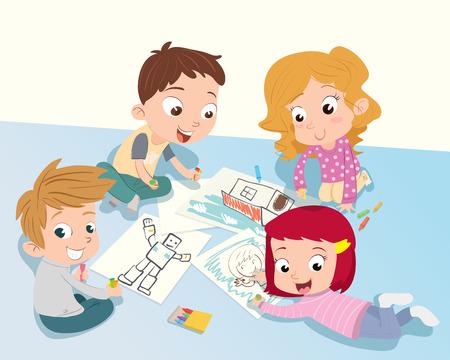 カラフルな鉛筆で図面を一緒に子供たちの漫画グループ。