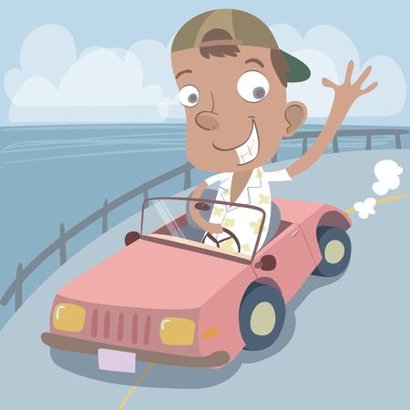 海辺の道路で運転漫画幸せな男