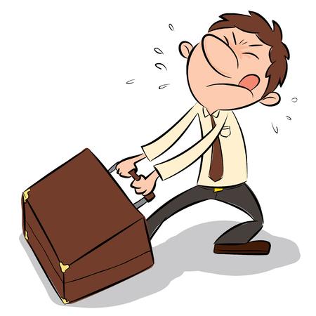 exhausting: cartoon businessman dragging big briefcase.