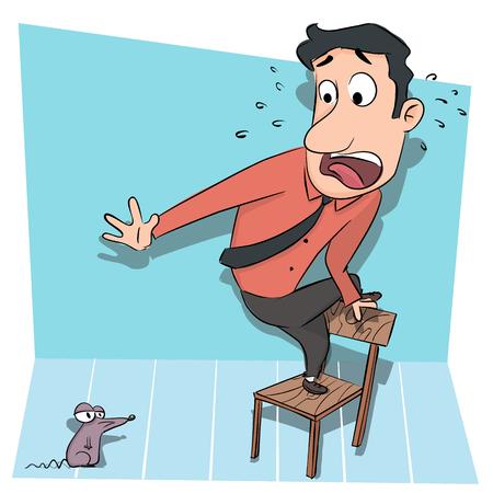 man standing on chair afraid of rat