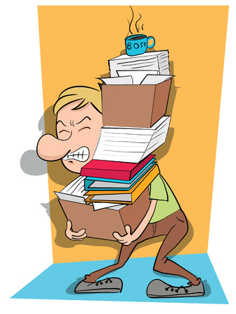 cartoon man carry a stack of files. Illustration