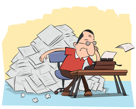 漫画作家タイプライターと紙の山。