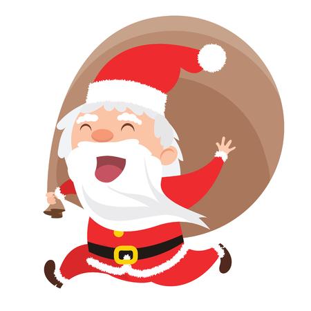 cartoon smiling  santa claus running with big bag