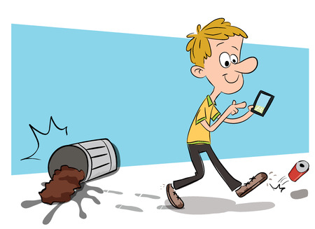 cartoon man using smartphone while walking and got some accident.