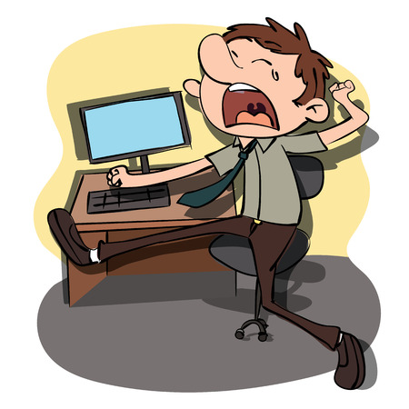carton yawning man at working desk.