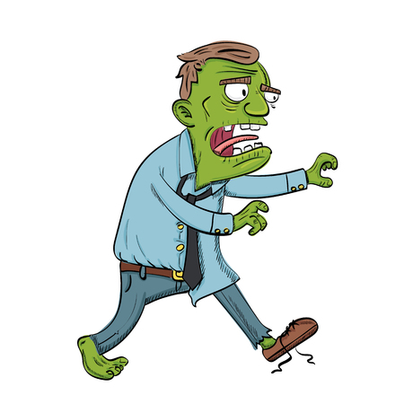 cartoon zombie chasing for something.