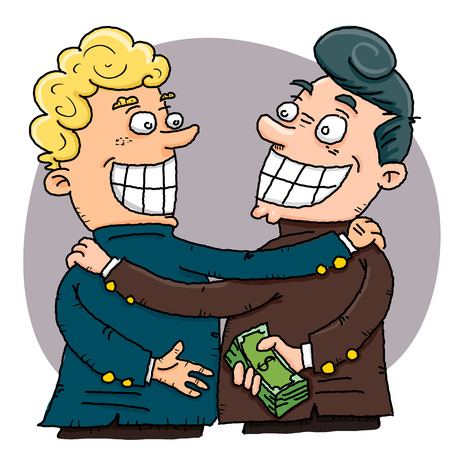 cartoon businessman giving a bribe to another.