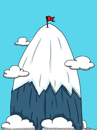 cartoon mountain peak with red flag.  イラスト・ベクター素材