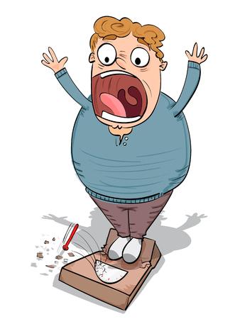 cartoon fat guy with broken bathroom scale.